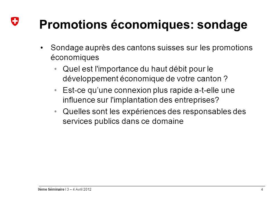 4 9ème Séminaire I 3 – 4 Avril 2012 Promotions économiques: sondage Sondage auprès des cantons suisses sur les promotions économiques Quel est l importance du haut débit pour le développement économique de votre canton .