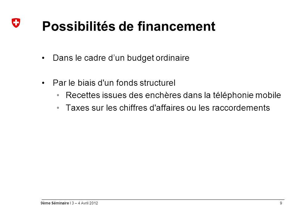 9 9ème Séminaire I 3 – 4 Avril 2012 Possibilités de financement Dans le cadre dun budget ordinaire Par le biais d un fonds structurel Recettes issues des enchères dans la téléphonie mobile Taxes sur les chiffres d affaires ou les raccordements