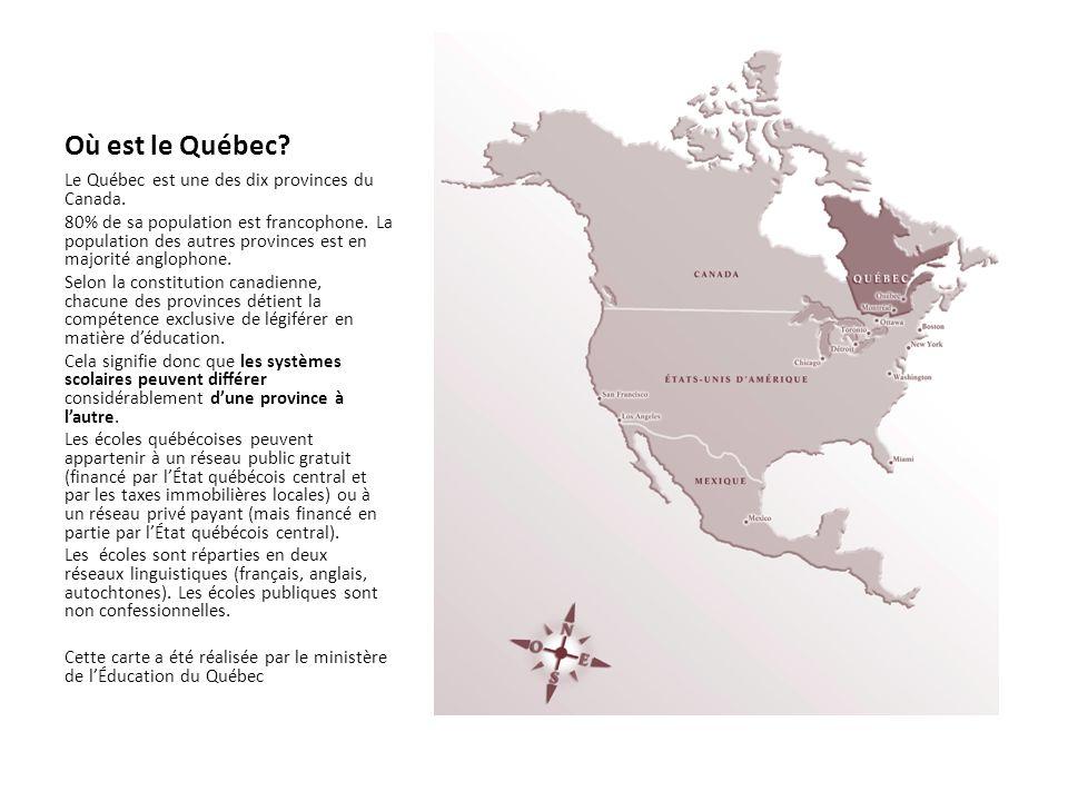 Le système scolaire au Québec Une majorité des élèves québécois fréquentent le préscolaire pour un ou deux ans (à 4 ou 5 ans) Le primaire pour six ans (de 6 à 11 ans) Le secondaire pour cinq ans (de 12 à 16 ans) Le collégial pour deux ou trois ans (17 à 19 ans).