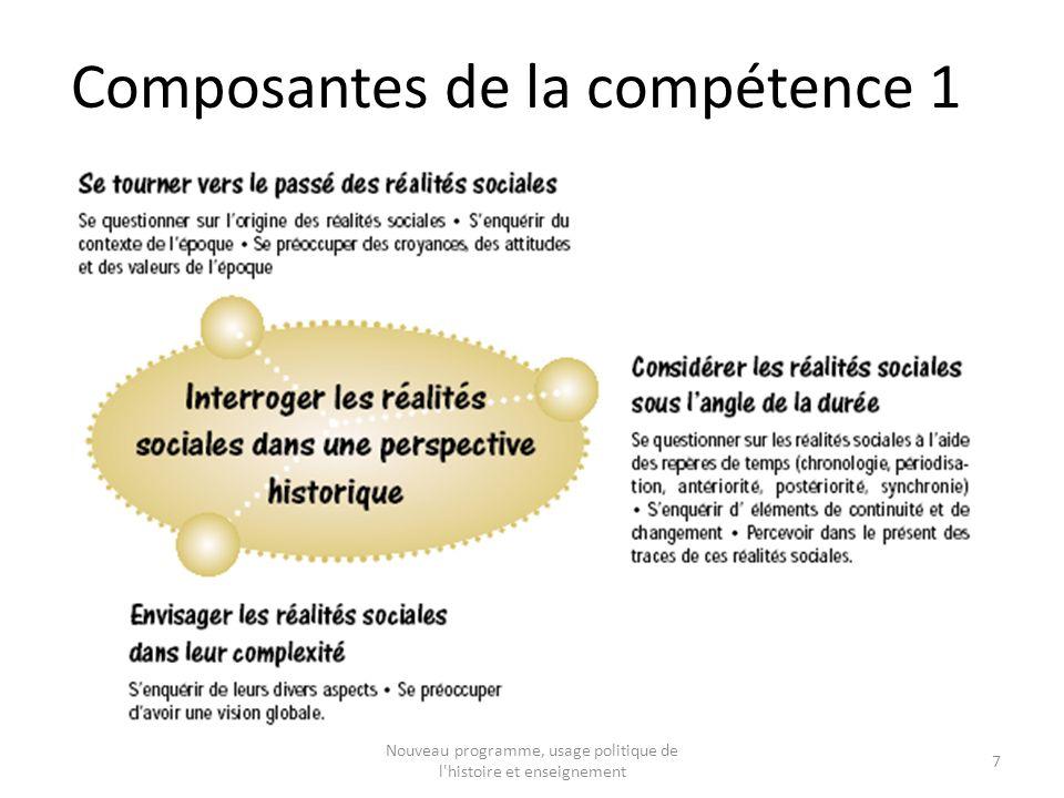 Composantes de la compétence 1 7 Nouveau programme, usage politique de l histoire et enseignement