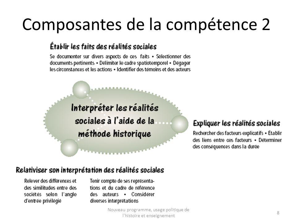 Composantes de la compétence 2 8 Nouveau programme, usage politique de l histoire et enseignement