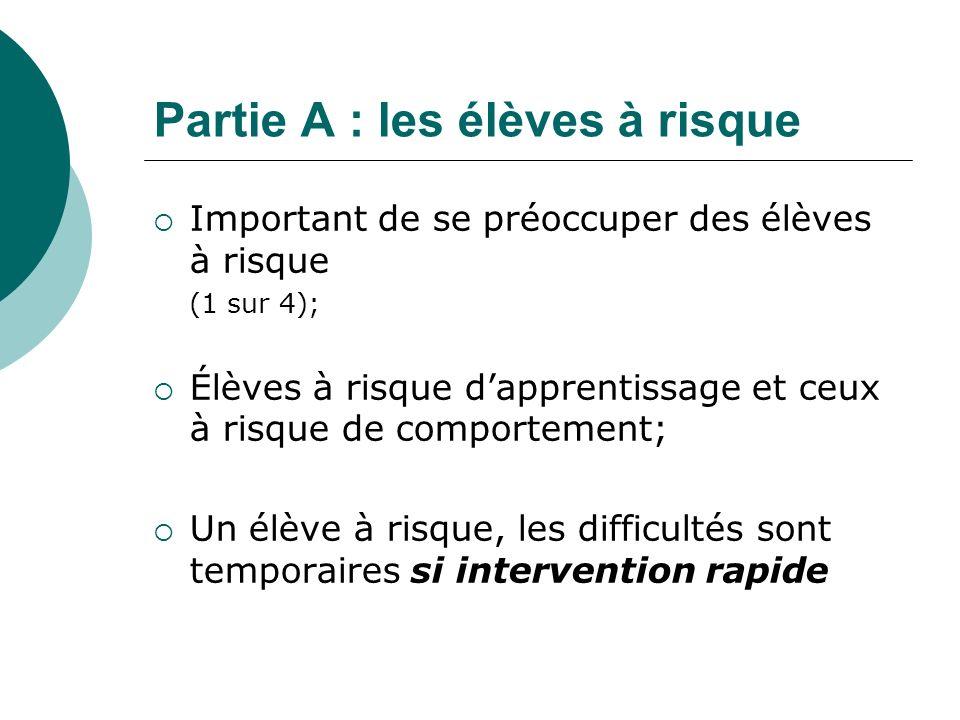 Partie A : les élèves à risque Important de se préoccuper des élèves à risque (1 sur 4); Élèves à risque dapprentissage et ceux à risque de comporteme