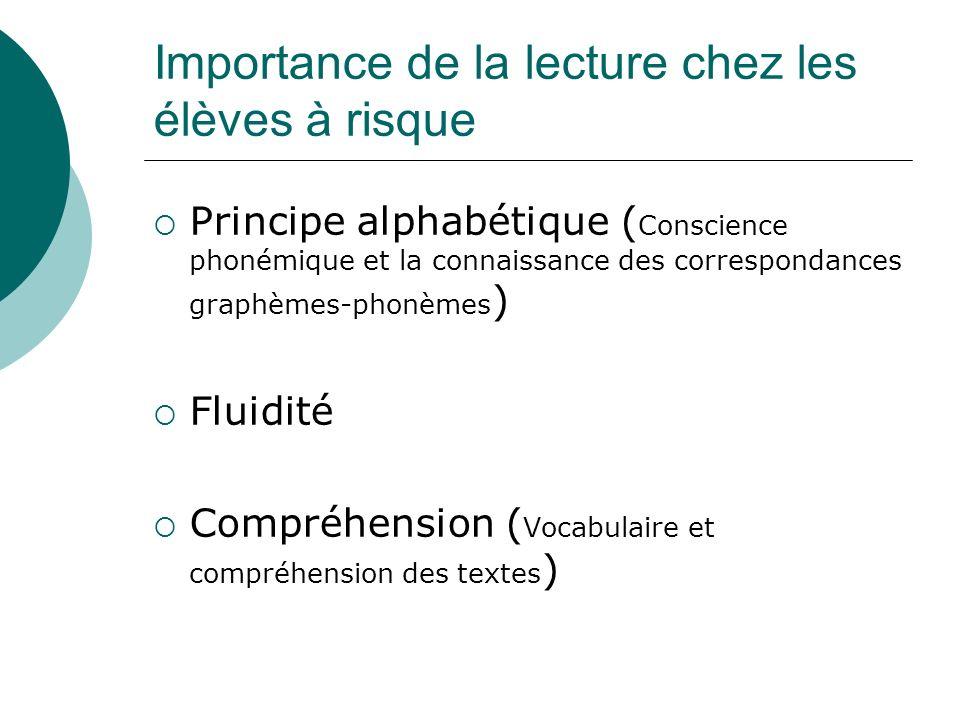 Importance de la lecture chez les élèves à risque Principe alphabétique ( Conscience phonémique et la connaissance des correspondances graphèmes-phonè