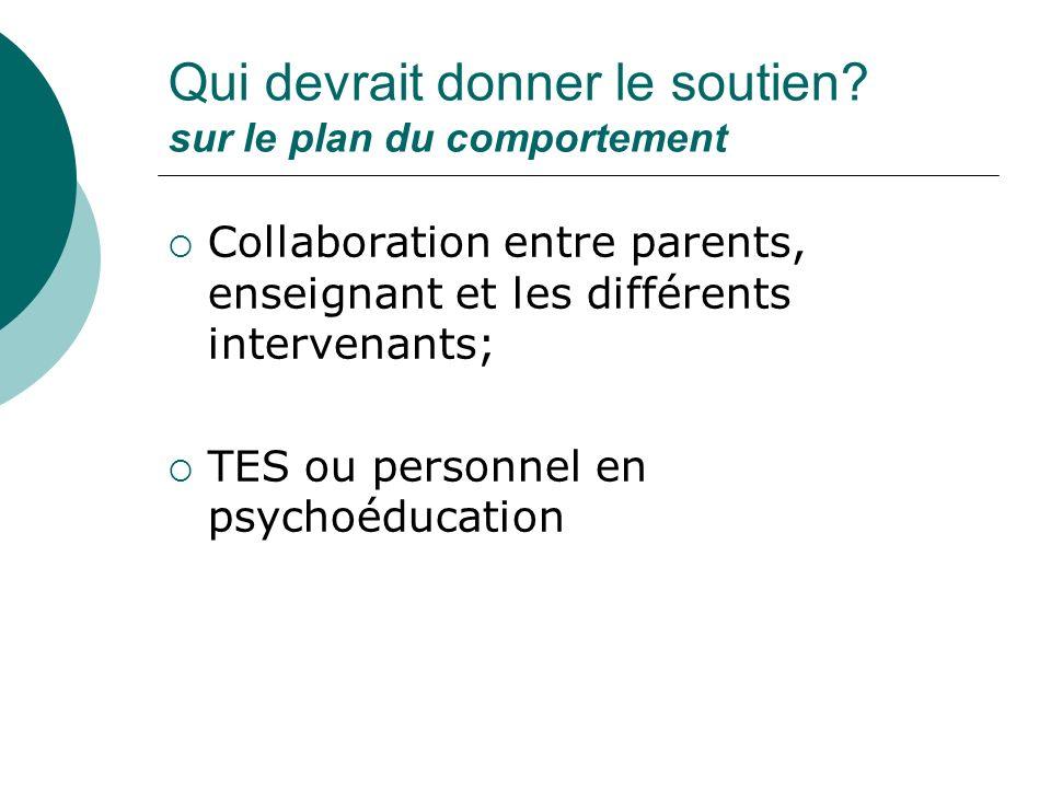 Qui devrait donner le soutien? sur le plan du comportement Collaboration entre parents, enseignant et les différents intervenants; TES ou personnel en