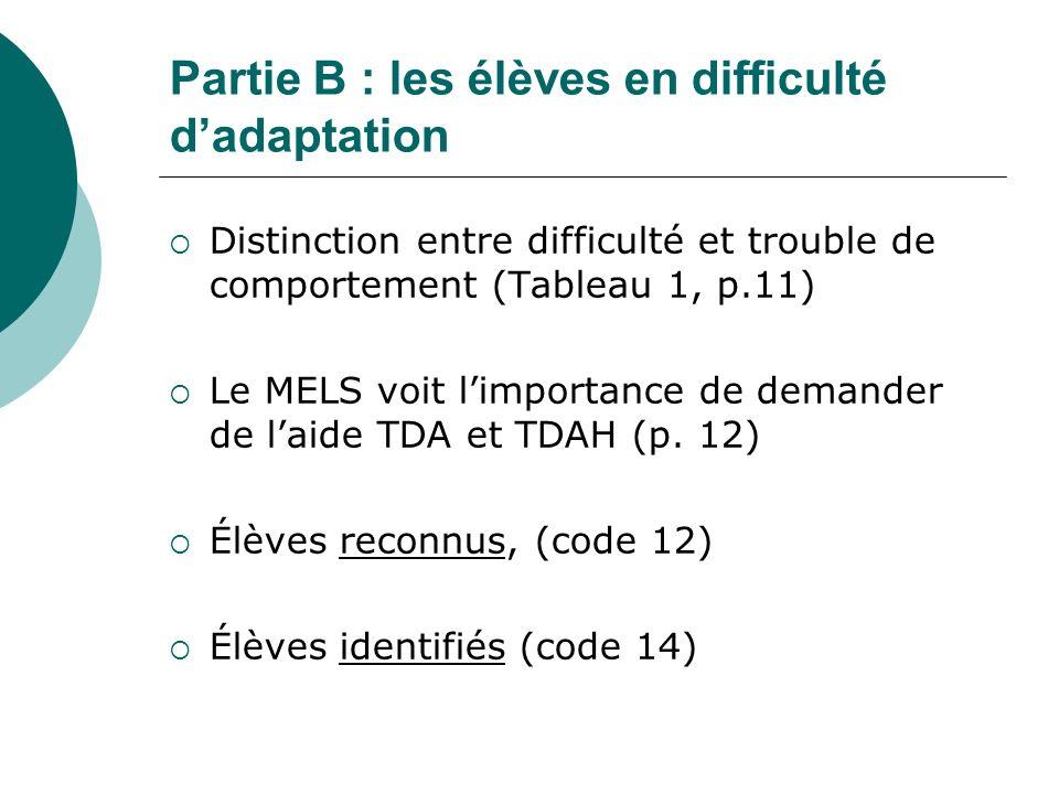 Partie B : les élèves en difficulté dadaptation Distinction entre difficulté et trouble de comportement (Tableau 1, p.11) Le MELS voit limportance de