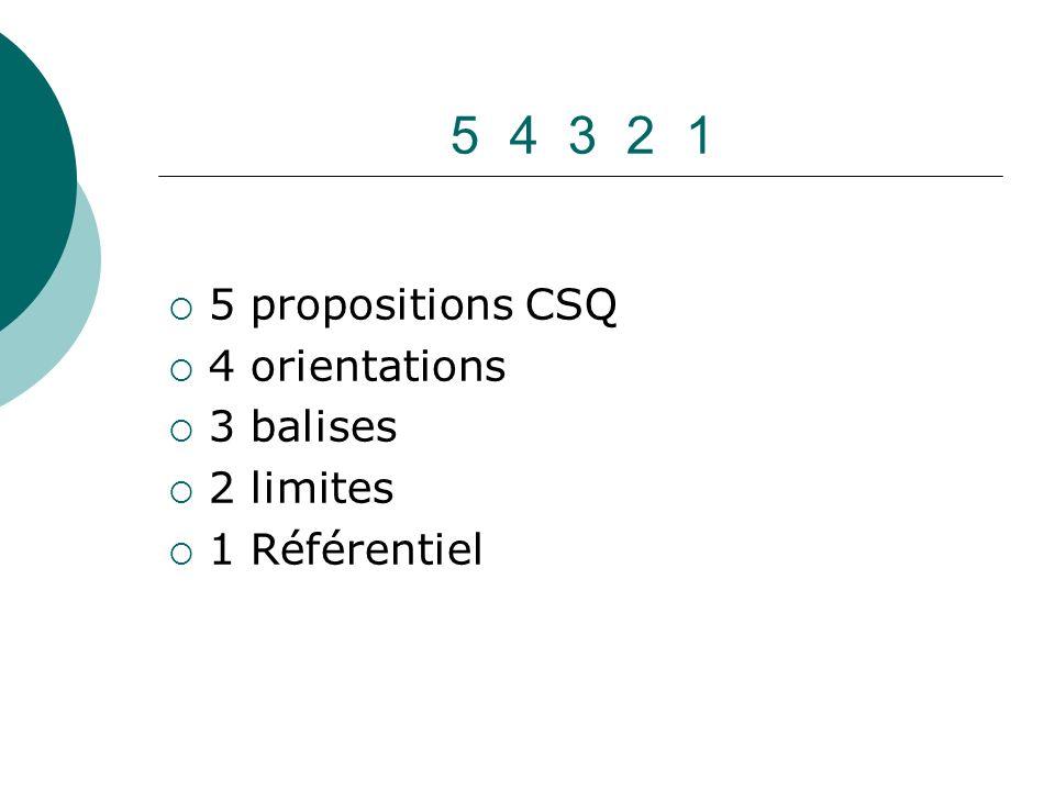 5 4 3 2 1 5 propositions CSQ 4 orientations 3 balises 2 limites 1 Référentiel