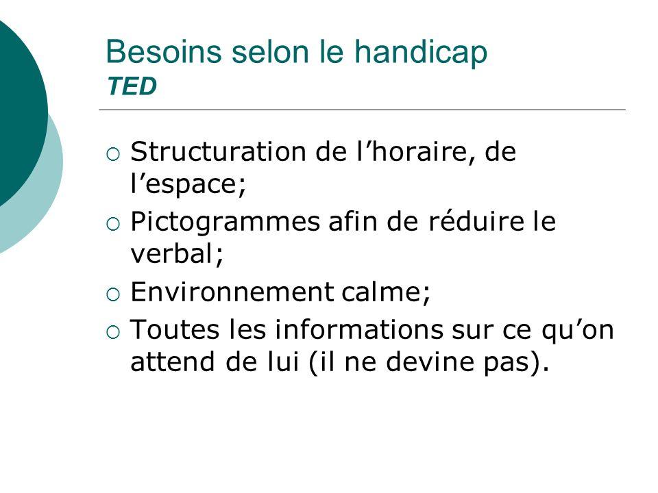 Besoins selon le handicap TED Structuration de lhoraire, de lespace; Pictogrammes afin de réduire le verbal; Environnement calme; Toutes les informati