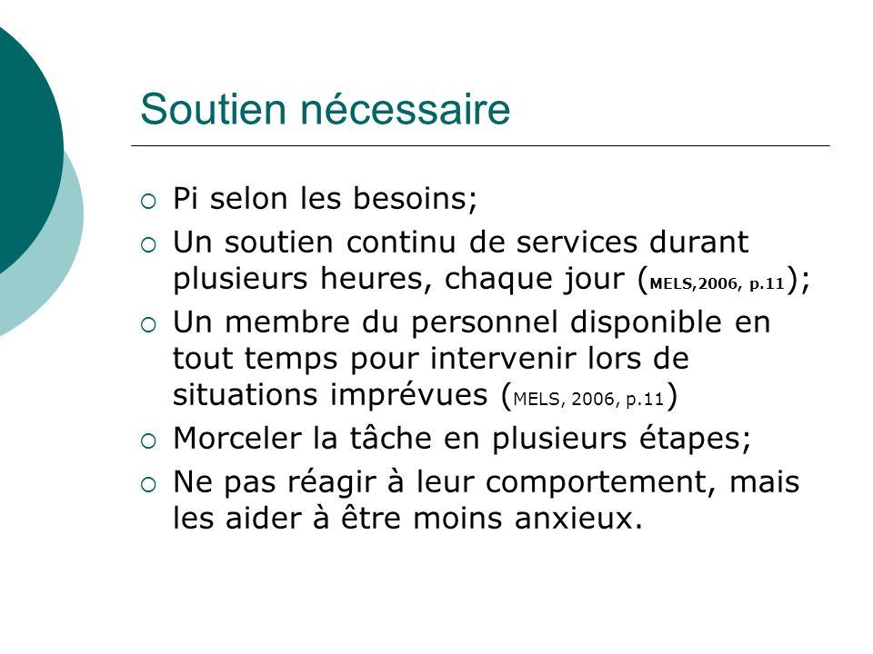 Soutien nécessaire Pi selon les besoins; Un soutien continu de services durant plusieurs heures, chaque jour ( MELS,2006, p.11 ); Un membre du personn
