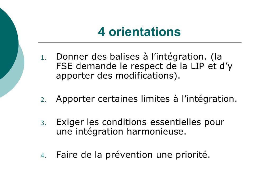 4 orientations 1. Donner des balises à lintégration. (la FSE demande le respect de la LIP et dy apporter des modifications). 2. Apporter certaines lim