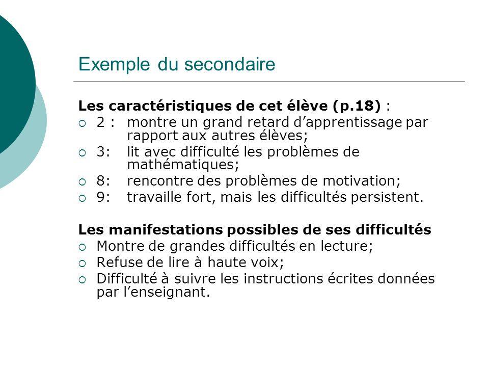 Exemple du secondaire Les caractéristiques de cet élève (p.18) : 2 : montre un grand retard dapprentissage par rapport aux autres élèves; 3: lit avec