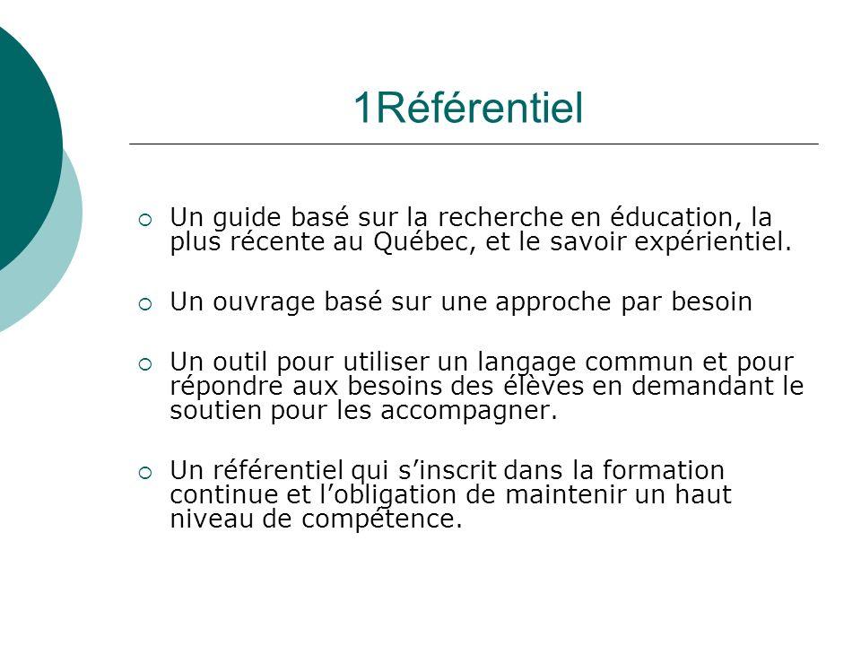 1Référentiel Un guide basé sur la recherche en éducation, la plus récente au Québec, et le savoir expérientiel. Un ouvrage basé sur une approche par b