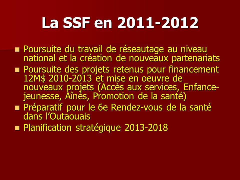 La SSF en 2011-2012 Poursuite du travail de réseautage au niveau national et la création de nouveaux partenariats Poursuite du travail de réseautage a