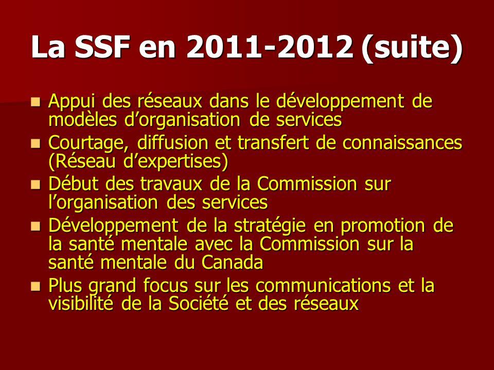 La SSF en 2011-2012 (suite) Appui des réseaux dans le développement de modèles dorganisation de services Appui des réseaux dans le développement de mo