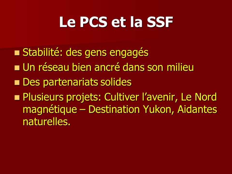 Le PCS et la SSF Stabilité: des gens engagés Stabilité: des gens engagés Un réseau bien ancré dans son milieu Un réseau bien ancré dans son milieu Des