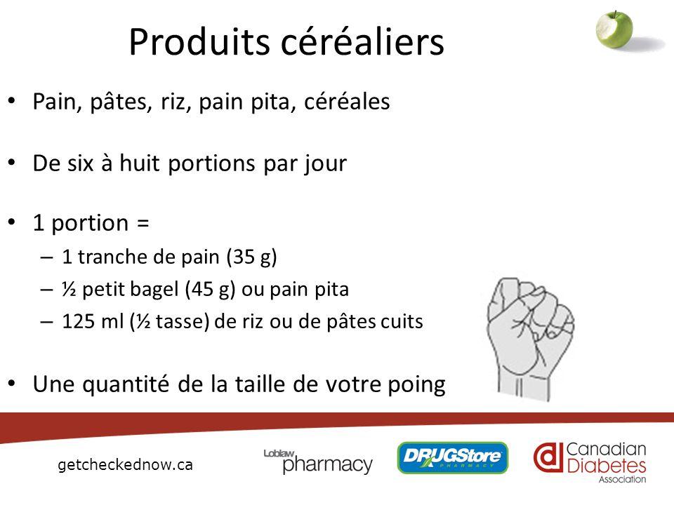 getcheckednow.ca Produits céréaliers Pain, pâtes, riz, pain pita, céréales De six à huit portions par jour 1 portion = – 1 tranche de pain (35 g) – ½