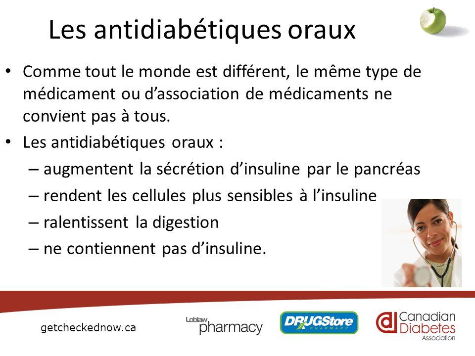 getcheckednow.ca Les antidiabétiques oraux Comme tout le monde est différent, le même type de médicament ou dassociation de médicaments ne convient pa