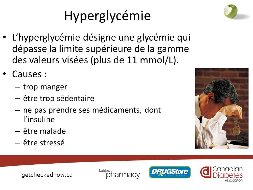 getcheckednow.ca Hyperglycémie Lhyperglycémie désigne une glycémie qui dépasse la limite supérieure de la gamme des valeurs visées (plus de 11 mmol/L)