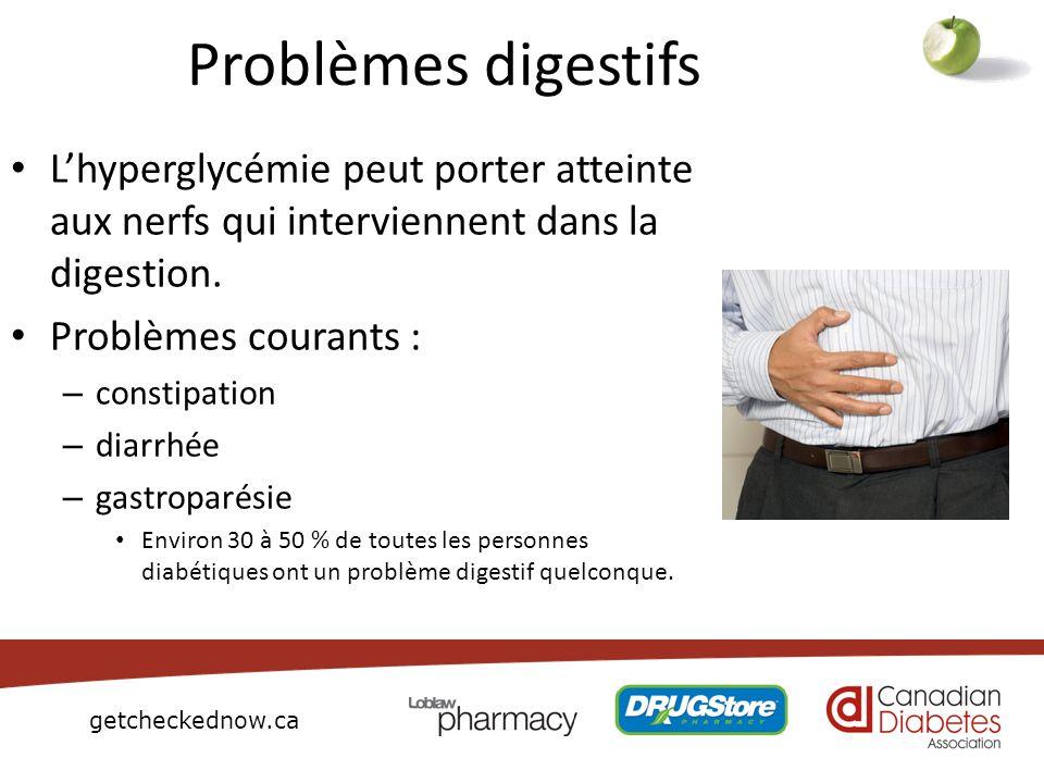 getcheckednow.ca Problèmes digestifs Lhyperglycémie peut porter atteinte aux nerfs qui interviennent dans la digestion. Problèmes courants : – constip