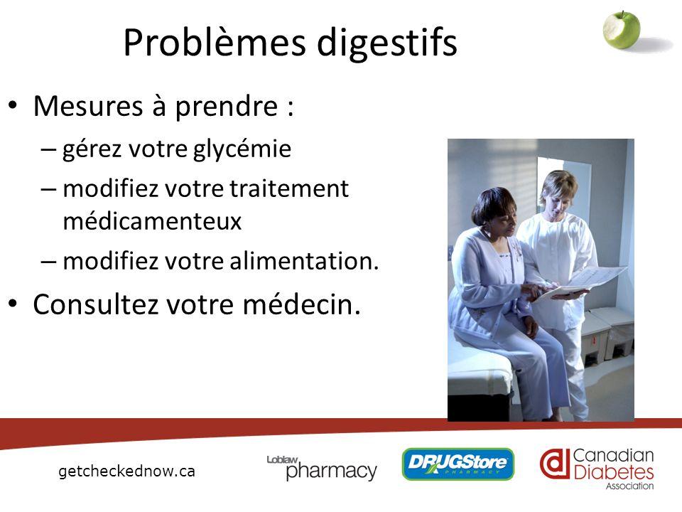getcheckednow.ca Problèmes digestifs Mesures à prendre : – gérez votre glycémie – modifiez votre traitement médicamenteux – modifiez votre alimentatio