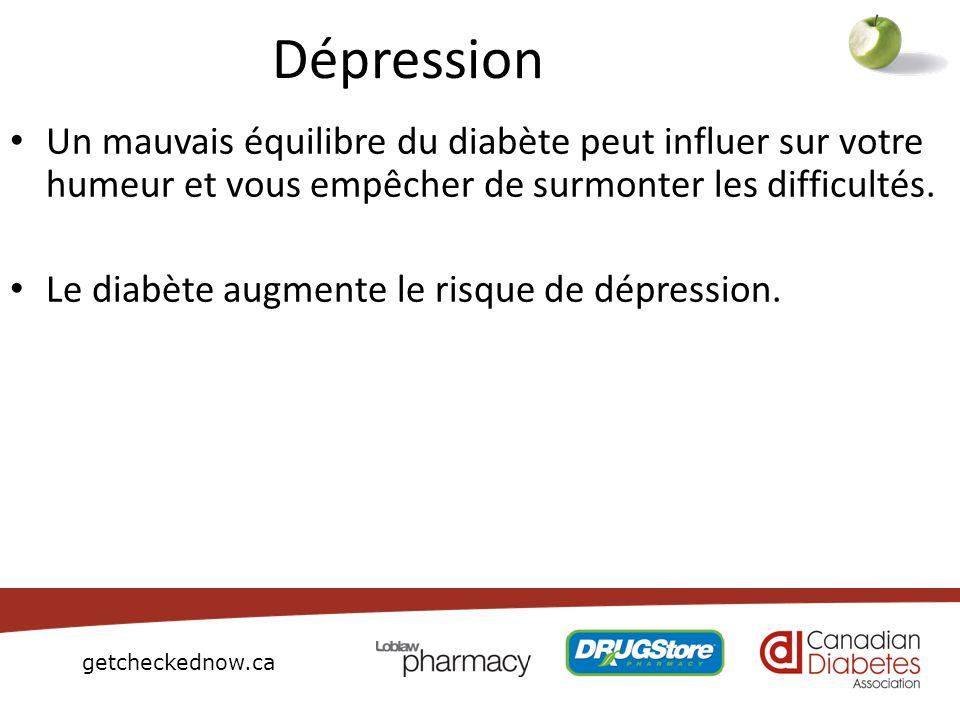 getcheckednow.ca Dépression Un mauvais équilibre du diabète peut influer sur votre humeur et vous empêcher de surmonter les difficultés. Le diabète au