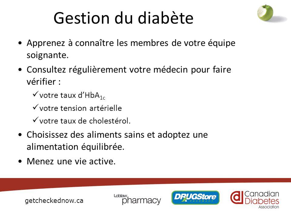 getcheckednow.ca Gestion du diabète Apprenez à connaître les membres de votre équipe soignante. Consultez régulièrement votre médecin pour faire vérif