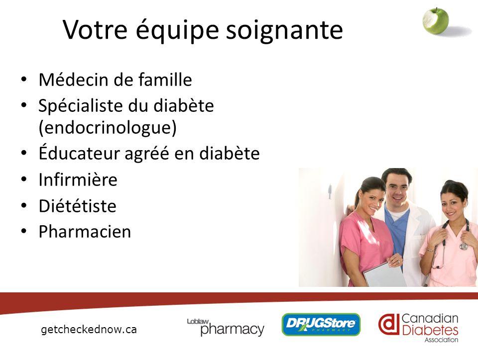 getcheckednow.ca Votre équipe soignante Médecin de famille Spécialiste du diabète (endocrinologue) Éducateur agréé en diabète Infirmière Diététiste Ph