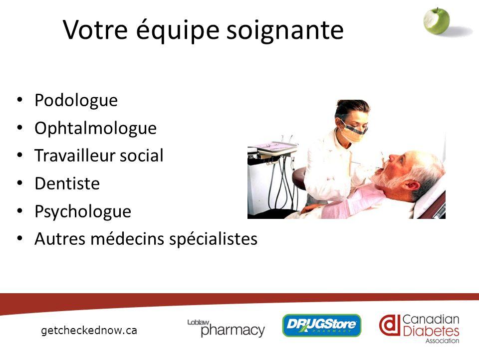 getcheckednow.ca Votre équipe soignante Podologue Ophtalmologue Travailleur social Dentiste Psychologue Autres médecins spécialistes