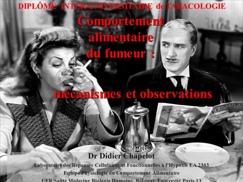 Comportement alimentaire du fumeur : mécanismes et observations mécanismes et observations DIPLÔME INTER-UNIVERSITAIRE de TABACOLOGIE Dr Didier Chapel
