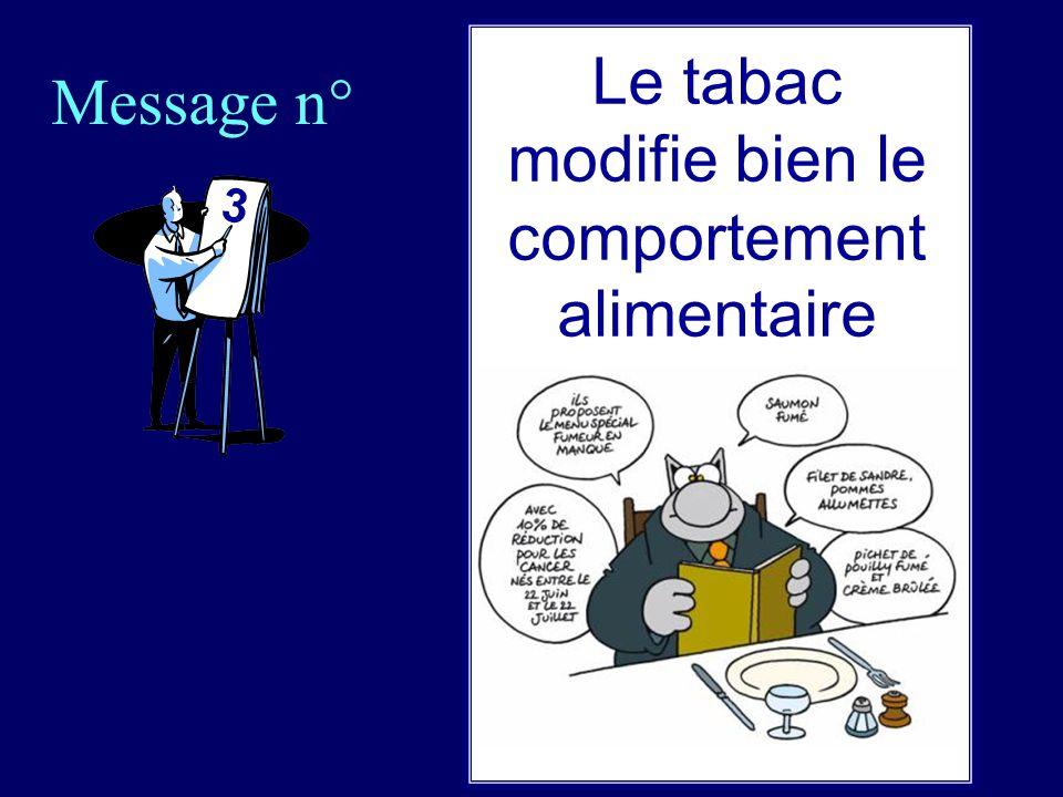 Message n° 3 Le tabac modifie bien le comportement alimentaire