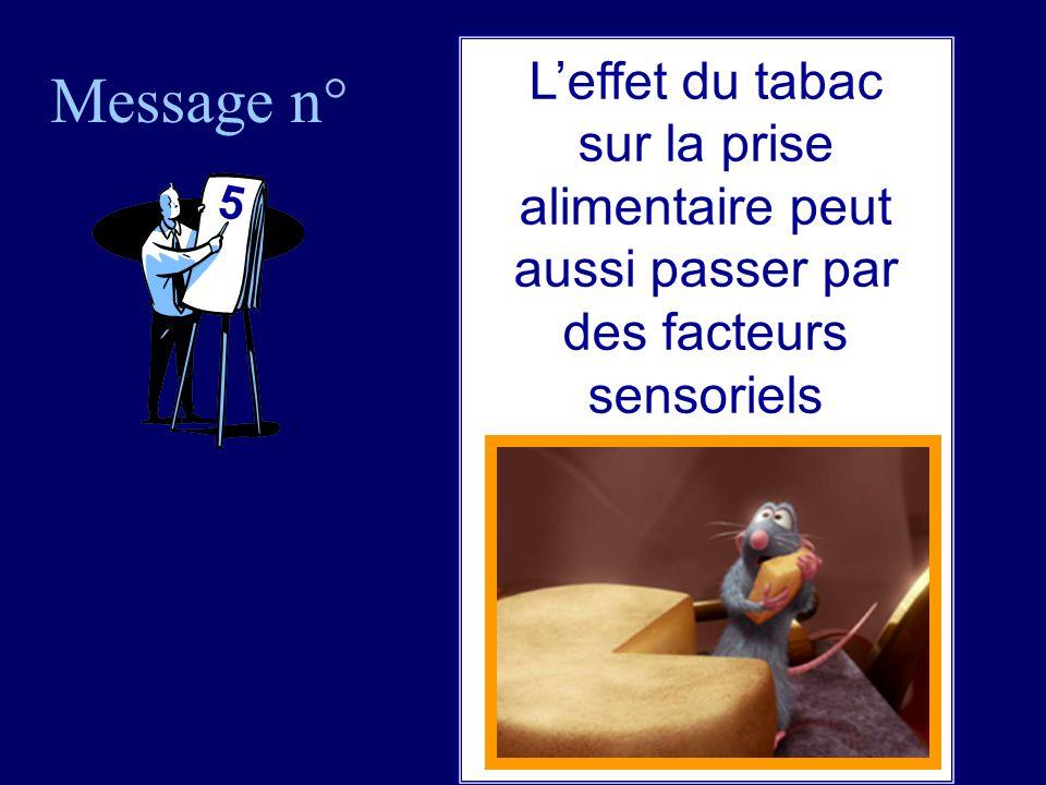 Message n° 5 Leffet du tabac sur la prise alimentaire peut aussi passer par des facteurs sensoriels