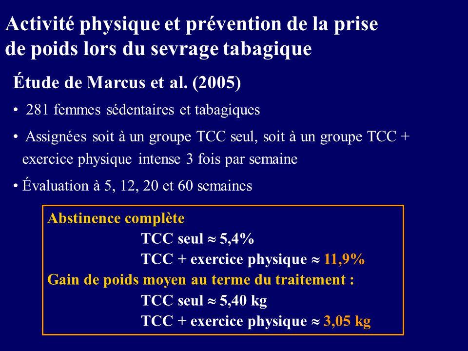 Étude de Marcus et al. (2005) 281 femmes sédentaires et tabagiques Assignées soit à un groupe TCC seul, soit à un groupe TCC + exercice physique inten