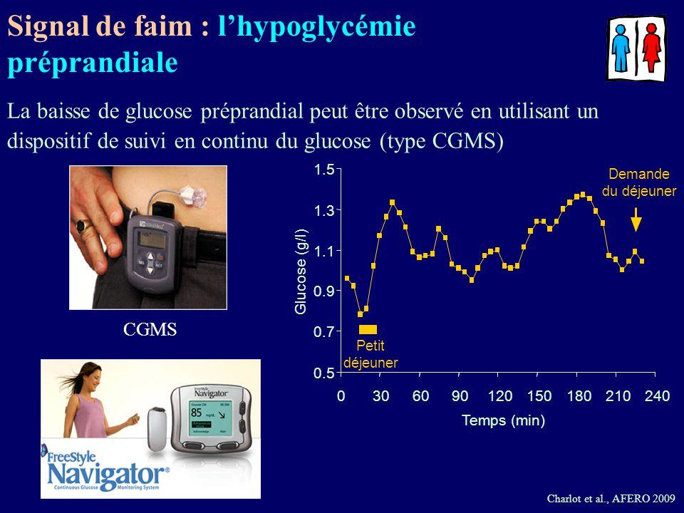 0.5 0.7 0.9 1.1 1.3 1.5 0306090120150180210240 Temps (min) Glucose (g/l) Petit déjeuner Demande du déjeuner CGMS Charlot et al., AFERO 2009 La baisse