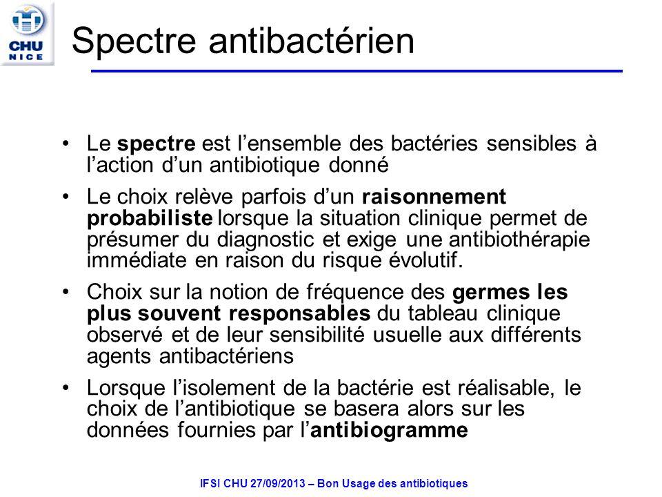 IFSI CHU 27/09/2013 – Bon Usage des antibiotiques Spectre antibactérien Le spectre est lensemble des bactéries sensibles à laction dun antibiotique donné Le choix relève parfois dun raisonnement probabiliste lorsque la situation clinique permet de présumer du diagnostic et exige une antibiothérapie immédiate en raison du risque évolutif.