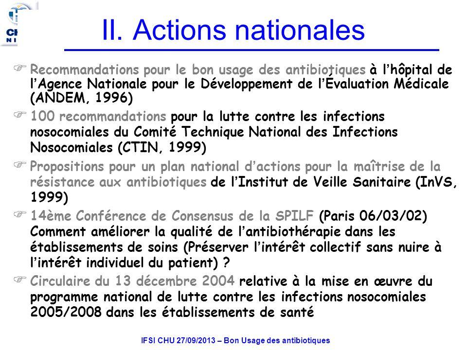IFSI CHU 27/09/2013 – Bon Usage des antibiotiques II.