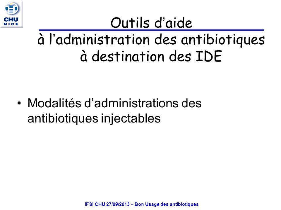 IFSI CHU 27/09/2013 – Bon Usage des antibiotiques Outils d aide à l administration des antibiotiques à destination des IDE Modalités dadministrations des antibiotiques injectables