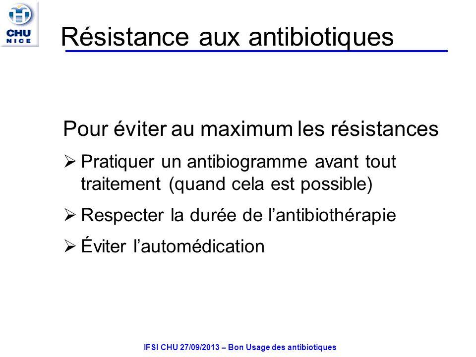 Résistance aux antibiotiques Pour éviter au maximum les résistances Pratiquer un antibiogramme avant tout traitement (quand cela est possible) Respecter la durée de lantibiothérapie Éviter lautomédication