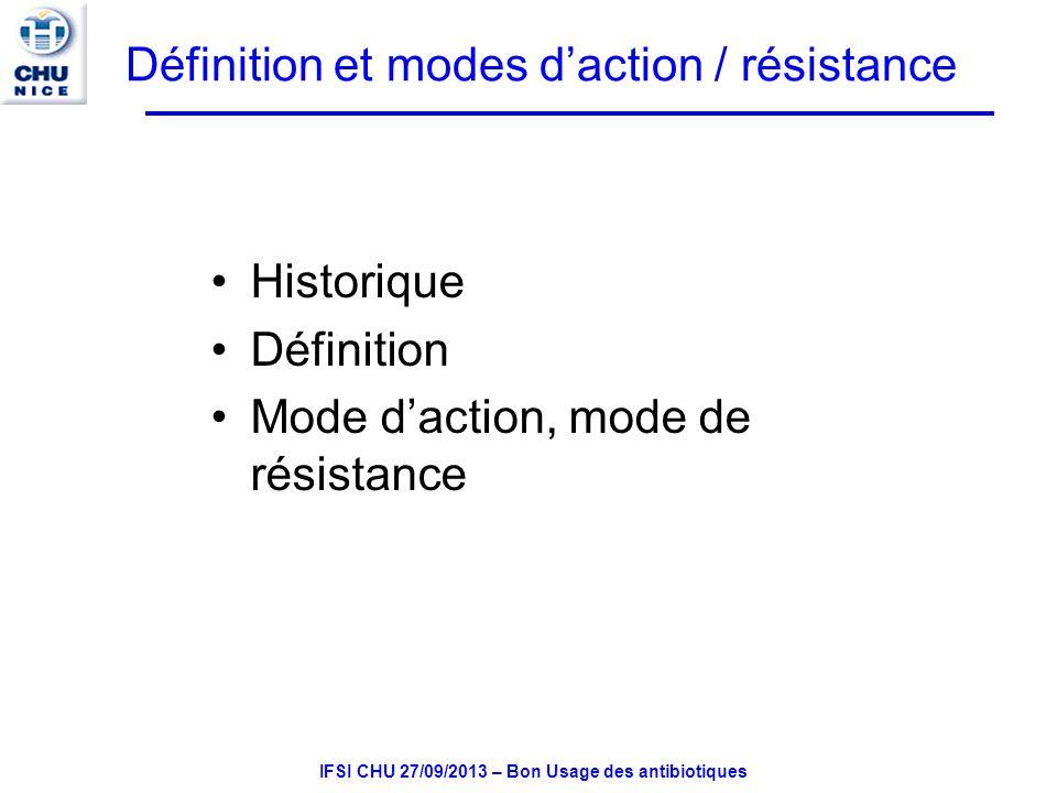 IFSI CHU 27/09/2013 – Bon Usage des antibiotiques Mode daction des antibiotiques Ils agissent à un niveau précis des structures bactériennes –Inhibition de synthèse de la paroi bactérienne (ex.