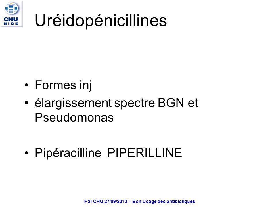 IFSI CHU 27/09/2013 – Bon Usage des antibiotiques Uréidopénicillines Formes inj élargissement spectre BGN et Pseudomonas PipéracillinePIPERILLINE