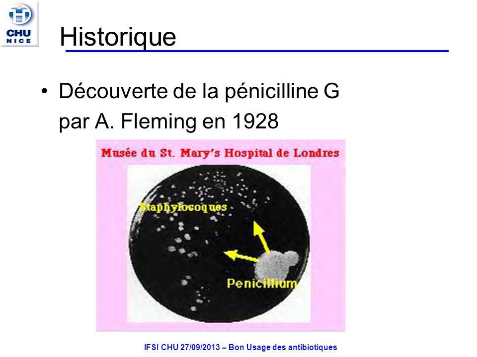 IFSI CHU 27/09/2013 – Bon Usage des antibiotiques Céphalosporines 1 ère G Large spectre, active sur staphylo et sur certaines BGN Céfazoline IV IM Indication en antibioprophylaxie chirurgicale