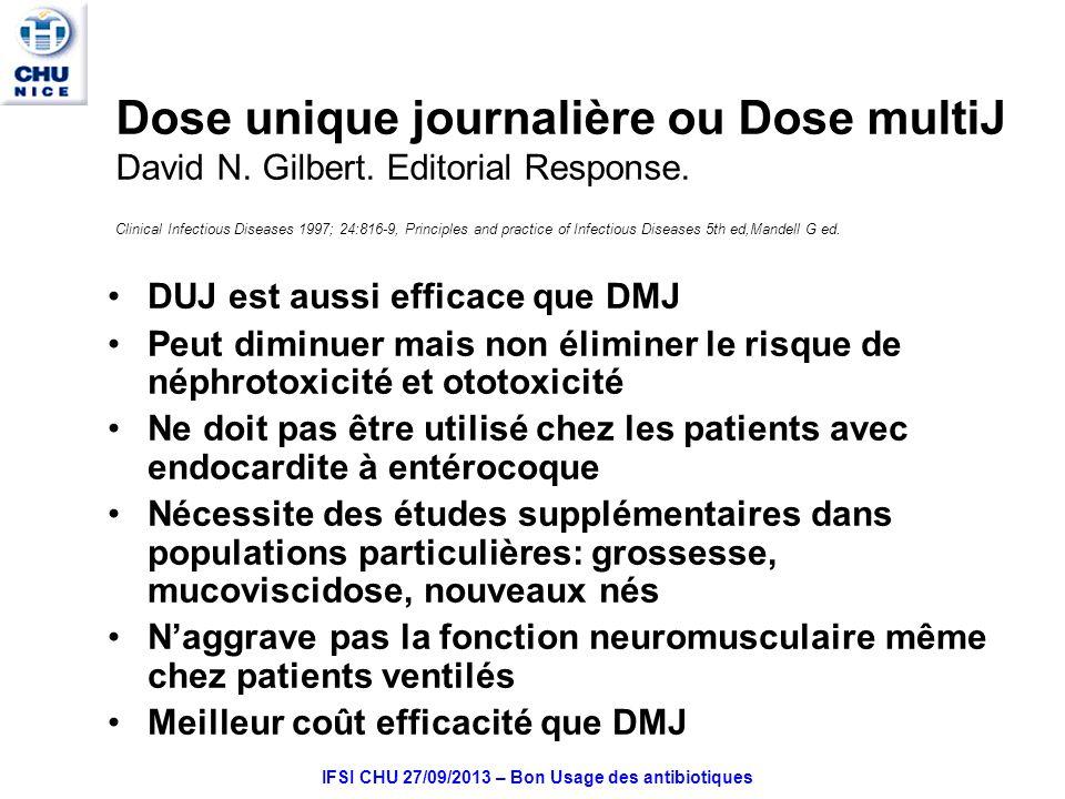 IFSI CHU 27/09/2013 – Bon Usage des antibiotiques Dose unique journalière ou Dose multiJ David N.
