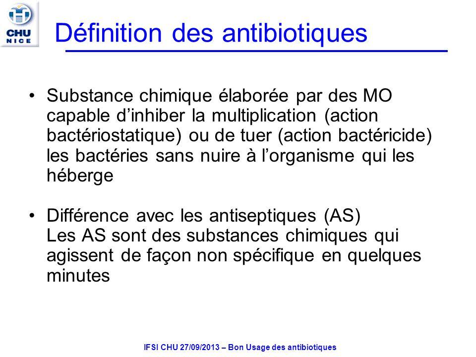 IFSI CHU 27/09/2013 – Bon Usage des antibiotiques Accidents digestifs liés à lactivité antibactérienne des AB Intolérance locale: effet direct sur la muqueuse digestive: anorexie, nausées, vomissements, gastralgies Diarrhées dues à la destruction de la flore saprophyte –Prévention: yaourts, ultralevure Surinfection mycosique (Candida albicans) dues à la modification de la flore saprophyte locale et dune carence en vitamine B –Apparition dun muguet buccal, mycose génitale Colite pseudomembraneuse –Plus rarement, la destruction de la flore intestinale entraine une entérocolite de pronostic grave due au développement dun germe anaérobie strict (Clostridium difficile)