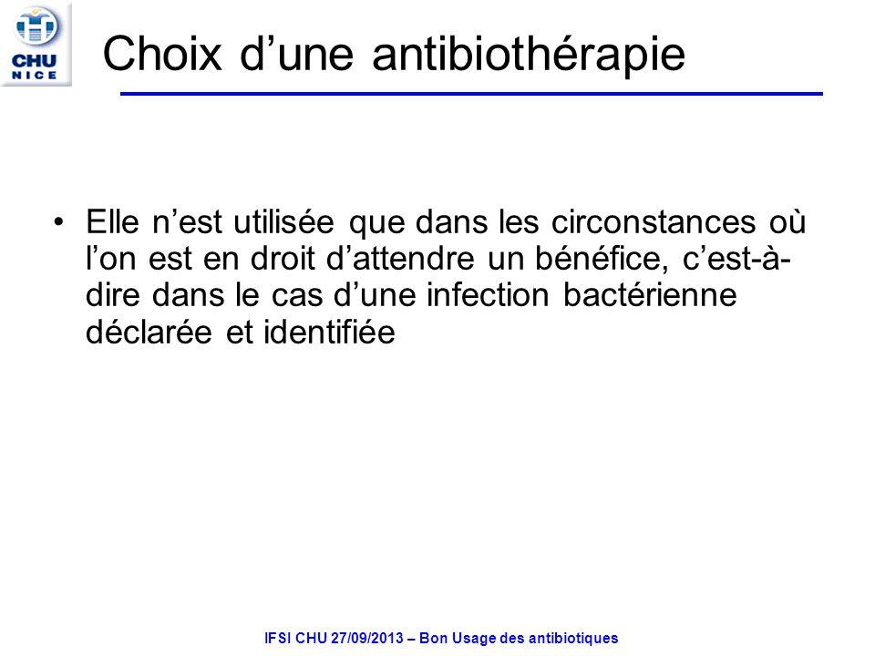 IFSI CHU 27/09/2013 – Bon Usage des antibiotiques Notions générales sur les bactéries Moyen de classification bacilles cocci