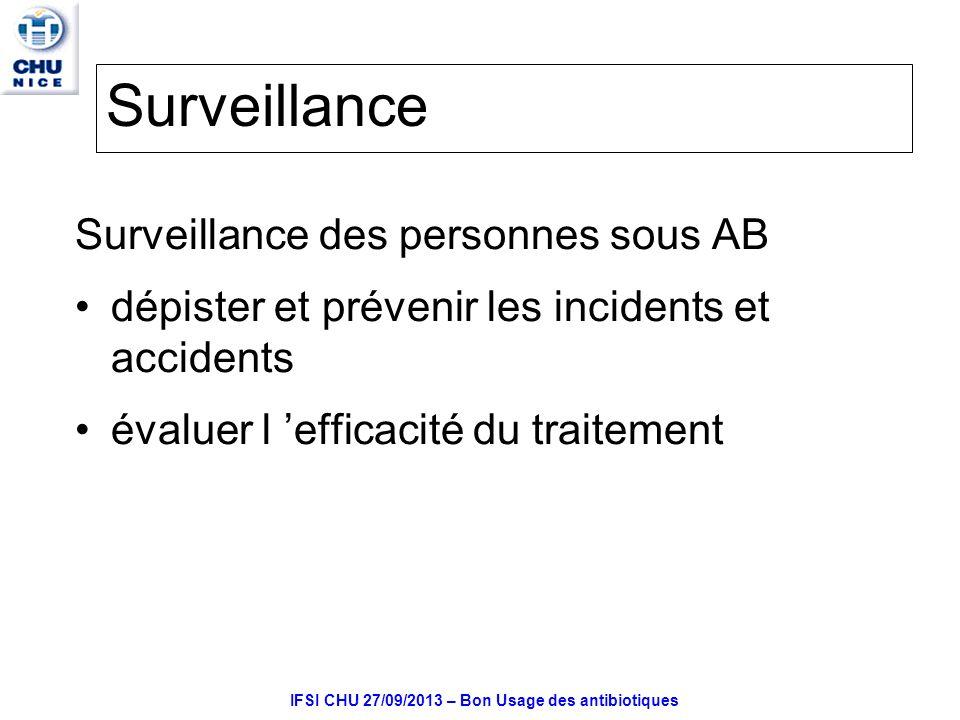IFSI CHU 27/09/2013 – Bon Usage des antibiotiques Surveillance Surveillance des personnes sous AB dépister et prévenir les incidents et accidents évaluer l efficacité du traitement