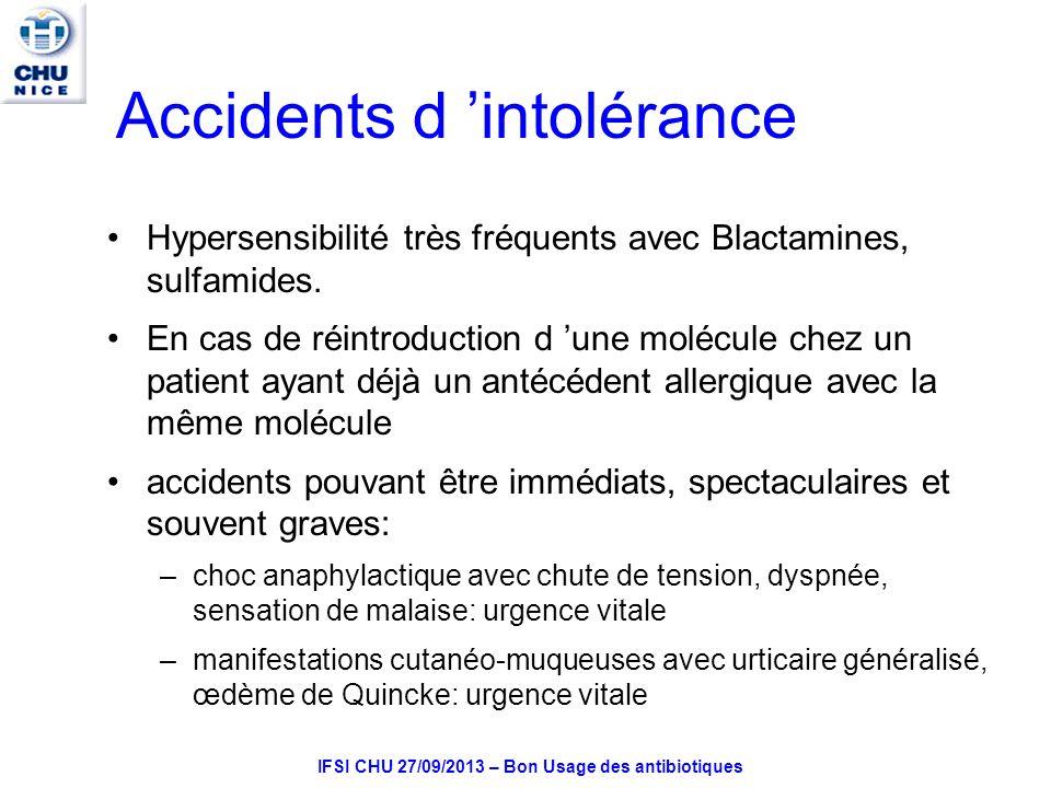 IFSI CHU 27/09/2013 – Bon Usage des antibiotiques Accidents d intolérance Hypersensibilité très fréquents avec Blactamines, sulfamides.
