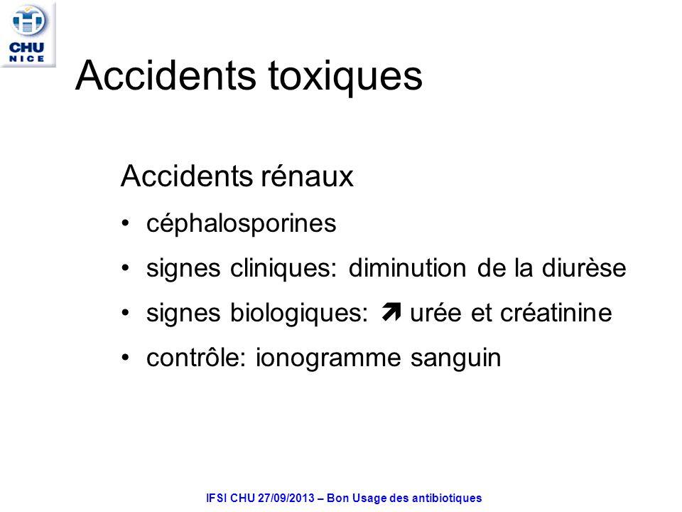 IFSI CHU 27/09/2013 – Bon Usage des antibiotiques Accidents toxiques Accidents rénaux céphalosporines signes cliniques: diminution de la diurèse signes biologiques: urée et créatinine contrôle: ionogramme sanguin