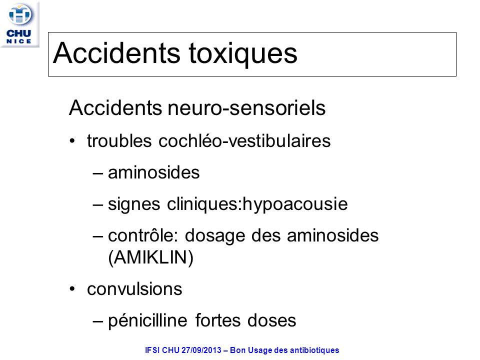IFSI CHU 27/09/2013 – Bon Usage des antibiotiques Accidents toxiques Accidents neuro-sensoriels troubles cochléo-vestibulaires –aminosides –signes cliniques:hypoacousie –contrôle: dosage des aminosides (AMIKLIN) convulsions –pénicilline fortes doses