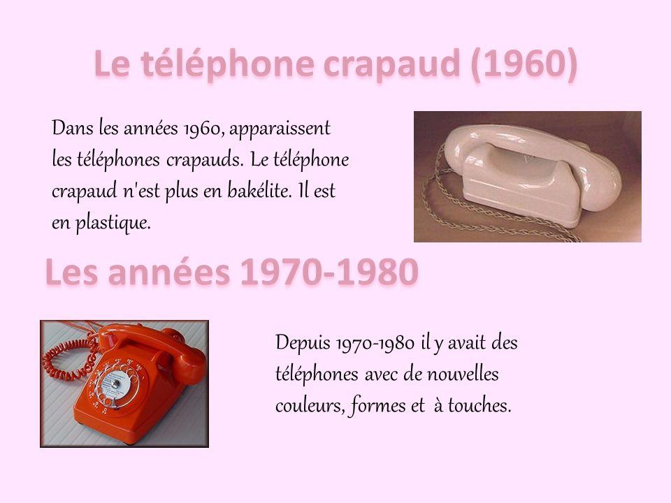 Dans les années 1940, apparaît le téléphone à cadran en bakélite. La bakélite est un plastique très dur. Il a un cadran tournant à 10 chiffres (de 0 à