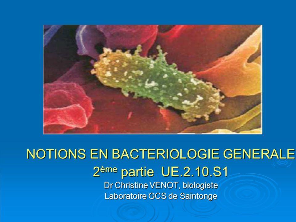 NOTIONS EN BACTERIOLOGIE GENERALE 2 ème partie UE.2.10.S1 Dr Christine VENOT, biologiste Laboratoire GCS de Saintonge