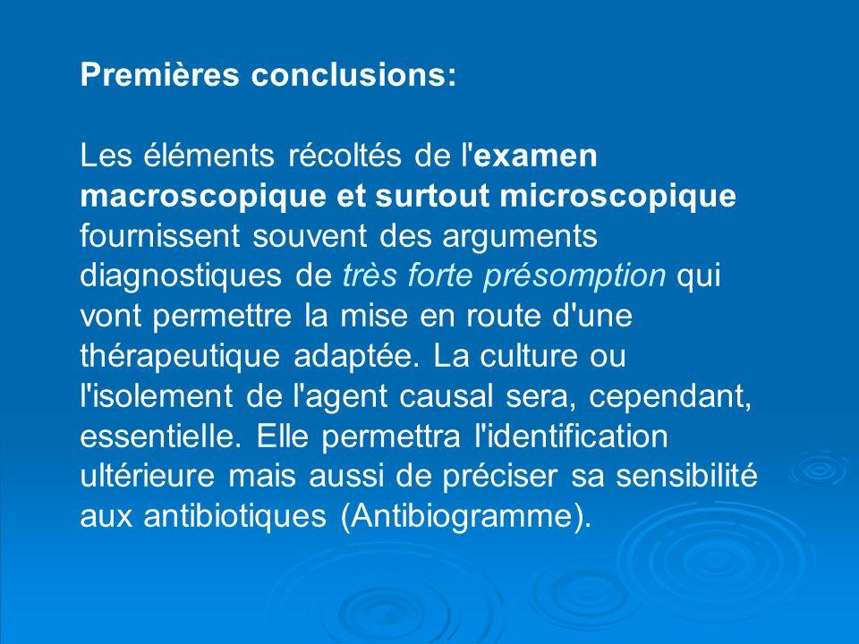 Premières conclusions: Les éléments récoltés de l'examen macroscopique et surtout microscopique fournissent souvent des arguments diagnostiques de trè