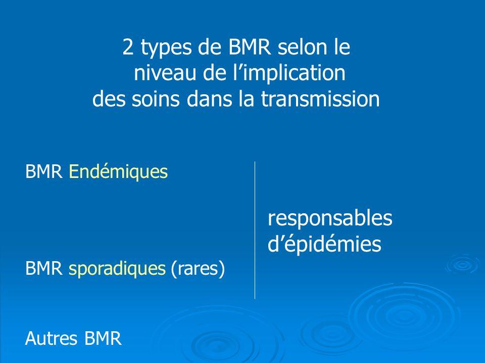 2 types de BMR selon le niveau de limplication des soins dans la transmission BMR Endémiques responsables dépidémies BMR sporadiques(rares) Autres BMR